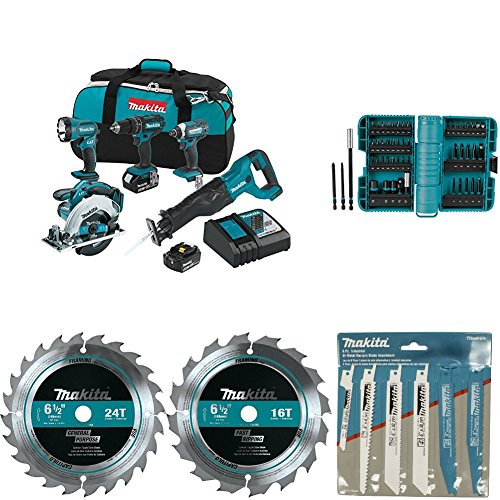Makita XT505 18V LXT Lithium-Ion Cordless 5-Pc. Combo Kit with with A-98348 ImpactX 50 Pc. Driver Bit Set with 723086-A-A 6 Pc. Recipro Saw Blade Assortment Pack with T-01395 6-1/2