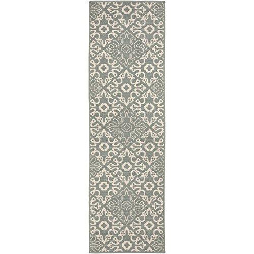 Surya ALF9634-2379 Machine Made Traditional Runner Rug, 2-Feet 3-Inch by 7-Feet 9-Inch, Moss/Beige