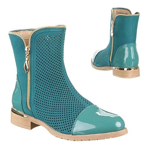 Ital-Design Damen Schuhe, W-15, Stiefeletten Türkis