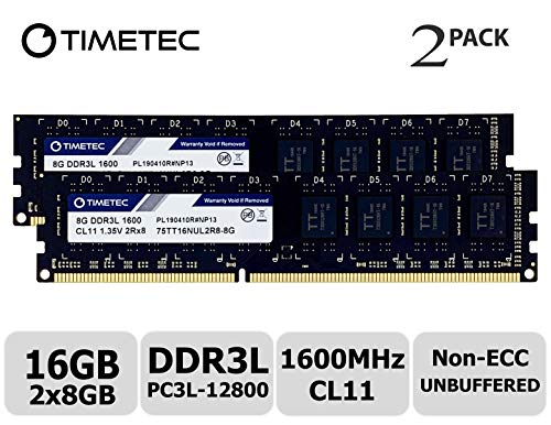 Timetec Hynix IC 16GB Kit (2x8GB) DDR3L 1600MHz PC3L-12800 Non ECC Unbuffered 1.35V/1.5V CL11 2Rx8 Dual Rank 240 Pin UDIMM Desktop Memory Ram Module Upgrade (16GB Kit (2x8GB))