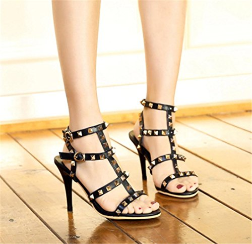 Stylish Black Fine Rivet Heel Bankett Fashion Beautiful Schnalle MNII High Schuhe Party Sandalen mit und wPFgF16Sq