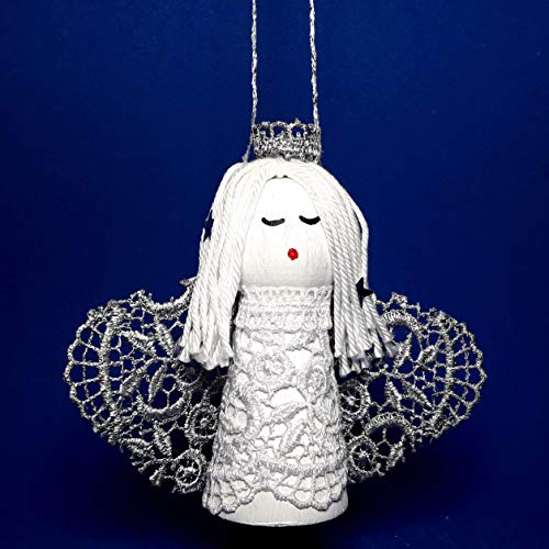 Angel with Silver Wings Holy Land Gift Small White Handmade Art Doll