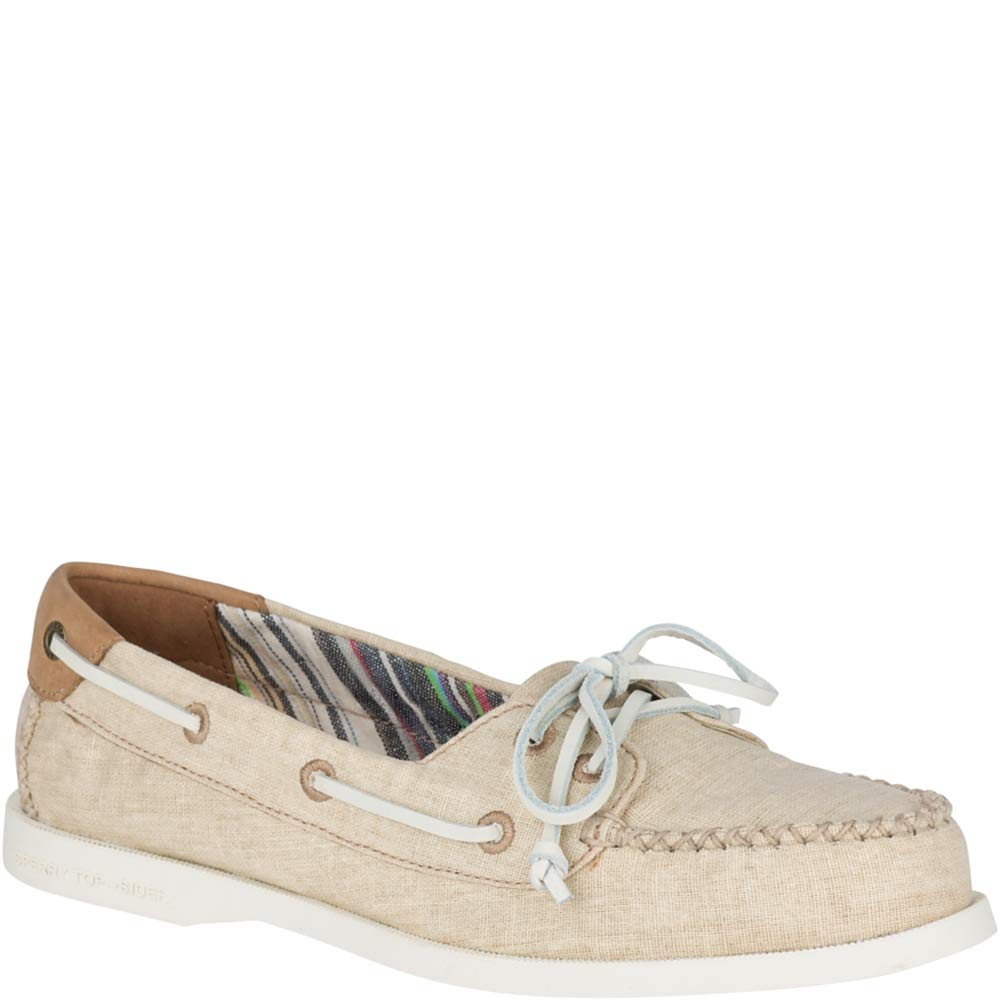 Sperry Top-Sider Authentic Original Venice Linen Boat Shoe Women 10 Natural