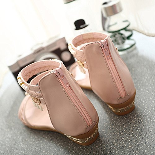 Scothen Sandalias de tacón Casual tarde Peep Toe mujeres de las sandalias planas de la hebilla de las sandalias romanas sandalias planas del Rhinestone correa del clip zapatos deslizadores de Bohemia Pink