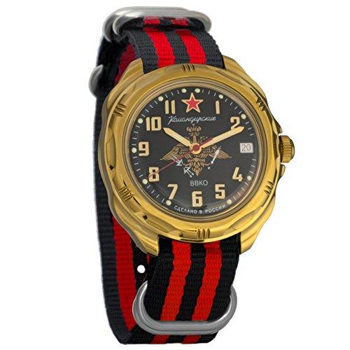 Vostok Russian Watch Movement (Vostok Komandirskie Mechanical Military Mens Watch #219632 (black+red))