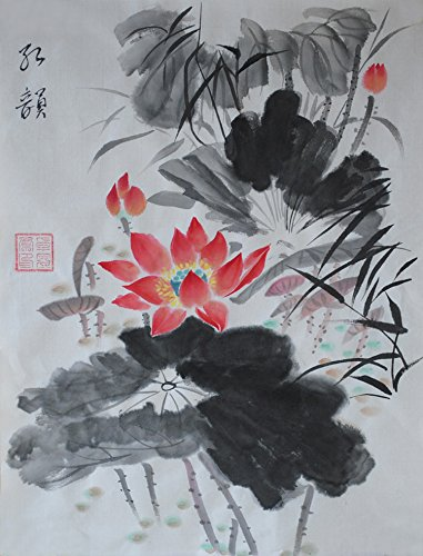 aa5599c11 Jiangnanruyi Art Lotus Flower Original Hand Painted Artwork Unframed Chinese  Brush Ink and Wash Watercolor Painting