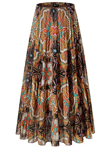 (NASHALYLY Women's Chiffon Elastic High Waist Pleated A-Line Flared Maxi Skirts (XL, Flower-205))