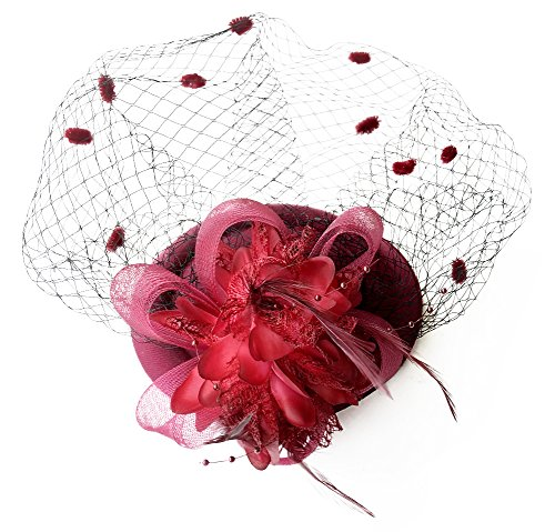Fascinator Hats Pillbox Hat British Bowler Hat Feather Flower Veil Wedding Hat (Burgundy)