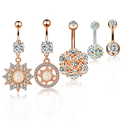 CABBE 5Pcs Belly Button Rings Set for Women 14G Surgical Steel Gauge Dangle Navel Rings Barbells (B:5Pcs Rose Goldtone) (Belly Shipping Free Button Rings)