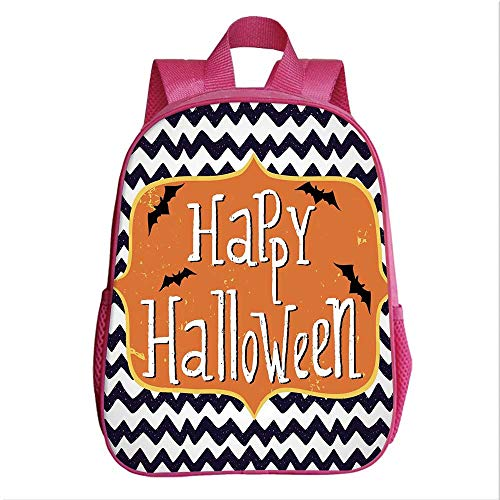 Halloween Kindergarten Shoulder Bag,Cute Halloween Greeting Card Inspired Design Celebration Doodle Chevron Decorative for Child,9.4''Lx4.7''Wx11.8''H -