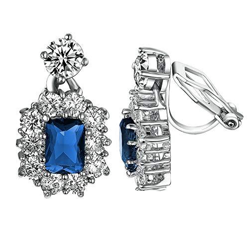 Yoursfs Clip on Earrings For Women wedding Birdal 18K Rose/White Gold Plated Non Pierced Ears (Clip on Dangling)