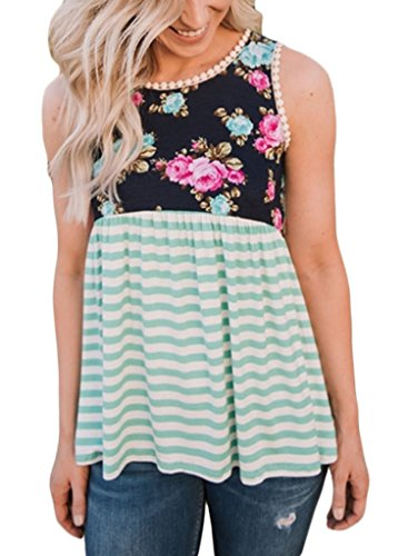 Sidefeel Women Strips Babydoll Floral Print Sleeveless Tank Top With Lace Trim XX-Large Green (Tunic Print Trim)