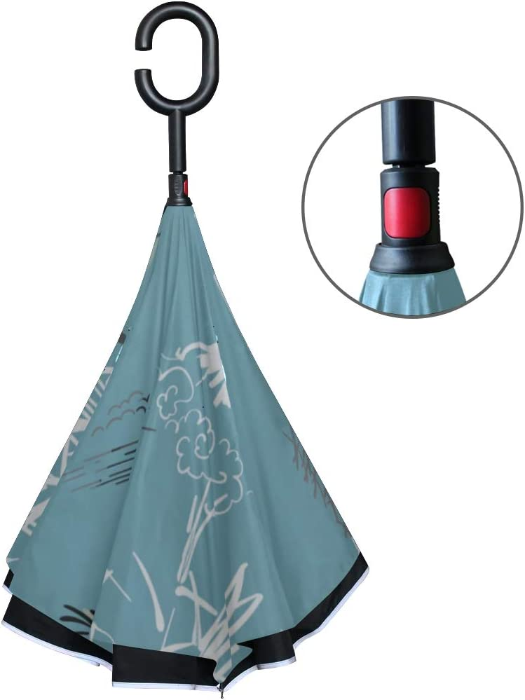 Double Layer Inverted Inverted Umbrella Is Light And Sturdy Temple Nature Landscape View Sketch Reverse Umbrella And Windproof Umbrella Edge Night Re