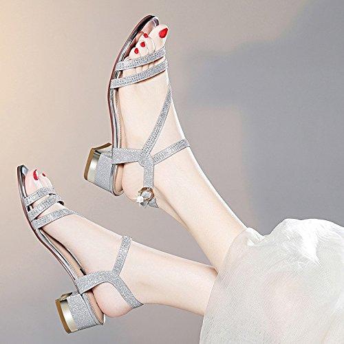 Talón Tacones del pie Abierto de Grueso Huecos los Zapatos Hebilla Nuevo Sandalias Jqdyl Diamantes Zapatos en Imitación Casuales Verano del de Femenina Silver con Tacones el Dedo qwIHHUd