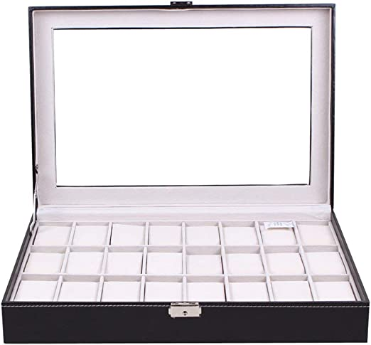 AERSHI 24 Rejillas de Vidrio Transparente Caja de Reloj de Cuero ...