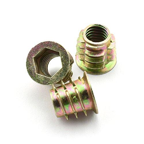 - LQ Industrial 30pcs 15.3x15mm Furniture Screw-in Nut Zinc Alloy Bolt Fastener Connector Hex Socket Drive Threaded Insert Nuts For Wood Furniture Assortment 3/8