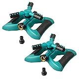Plemo Lawn Sprinkler, Automatic 360 Rotating Sprinklers for Garden, Adjustable Irrigation System