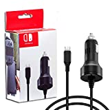 Zeato High Speed Car Charger for Nintendo Switch with Charging Cable - Black