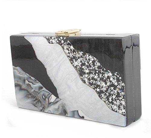 chaîne soirée noir et haute Femmes dîner d'épaule rayé de de white en embrayage blanc sac chaîne pack marbre FZHLY acrylique Black qualité 0qTnngW