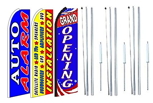 Lcd Pole Kit (Auto alarm, installation satelite radio, lcd, speakers, amplifiers, Grand opening King Swooper Feather Flag Sign Kit With Complete Hybrid Pole set- Pack of 3)