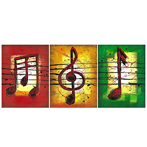GEVES Rustic Music Notes Wall Decor Giclee Print Canvas Paintings Modern Wall Art for Living Room Bedroom Classroom Decoration Pictures Posters Framed Ready to Hang Home Decor