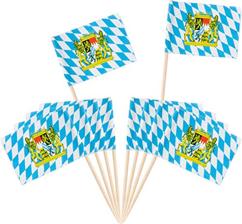 Oktoberfest Cocktail Picks - 200-Pack Disposable Bavarian Flag Cupcake Topper Decoration, Theme Party Bamboo Toothpicks, Blue and White, 2.6 x 1.6 Inches by Juvale