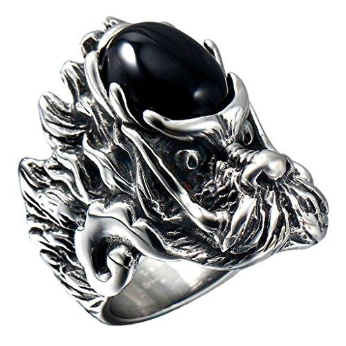 Beydodo Stainless Steel Men Rings Vintage Punk Dragon King Faux Oval Agate, Black, Size 10
