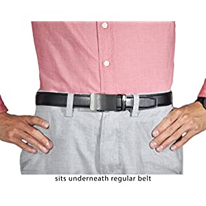Super Belt for Formal and Professional Attire - Keeps Shirt Tucked In, One Size, Black