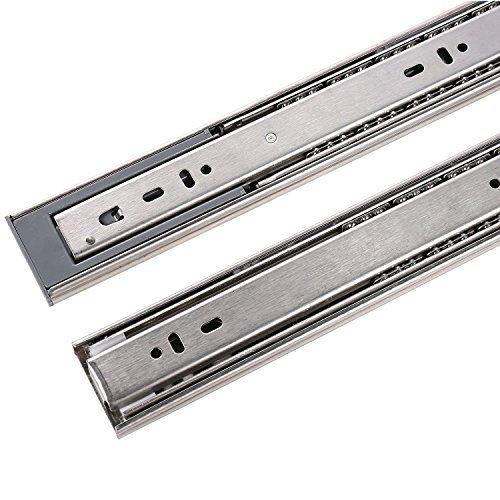 MATEE 10-In Mute Stainless Steel Damping Buffer Three Section Drawer Slide Soft & Self Closing Ball Bearing Runner Zinc Plated with Spring Design (Stainless Runner)