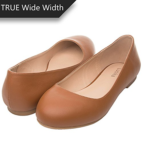 Luoika Women's Wide Width Flat Shoes - Comfortable Slip On Round Toe Ballet Flats. (180110 Brown PU,8WW) by Luoika