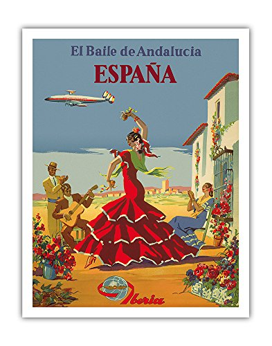 España (Spain) - El Baile de Andalucia (The Dance of Andalusia) - Iberia Air Lines of Spain - Flamenco Dancers - Vintage Airline Travel Poster by Unknown c.1950s - Fine Art Print - 11in x 14in by Pacifica Island Art