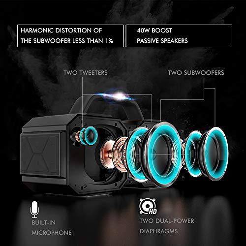 BUGANI Bluetooth Speaker, M83Portable Bluetooth Speakers,Bluetooth 5.0,Waterproof, Wireless Speakers,40W Super Power… 4