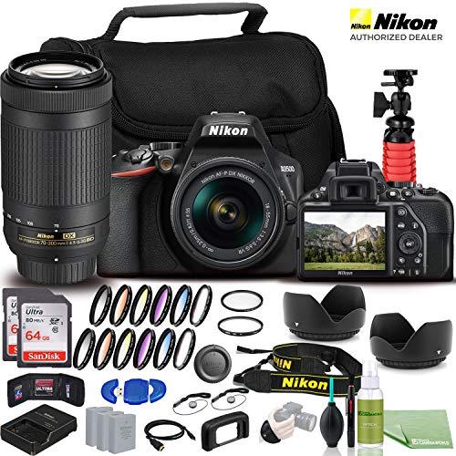 Nikon D3500 DSLR Camera - Bundle - with 18-55mm and 70-300mm Lenses (1588) USA Model + 2X EN-EL14a Battery + 2X SanDisk Ultra 64GB Card + 55mm Color Filter Kit + 58mm Color Filter Kit + Case + More