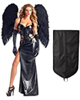 Be Wicked Women's Dark Angel Gothic Vampire with Wings and Gloves