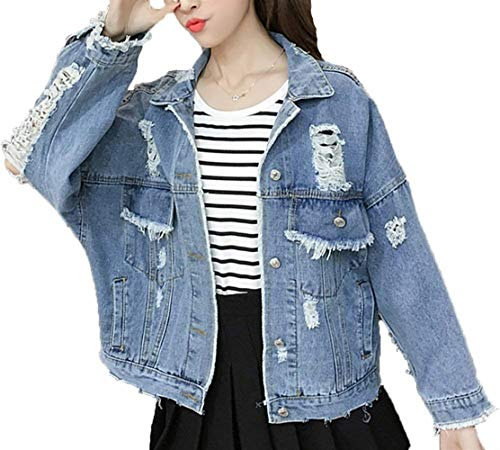 Vaqueras Jacket Anchas Elegante Blau Casuales Otoño Colores Sólidos Chaqueta Outerwear Informales Múltiples Primavera Cazadoras Rasgado Abrigos Bolsillos Hipster Mujeres Moda Con Mujer Grande Talla rrpFOdqw
