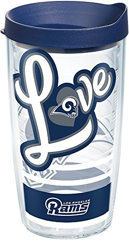 Tervis 1280288 NFL Los Angeles Rams Love Tumbler with Wrap and Navy Lid 16oz, Clear ()