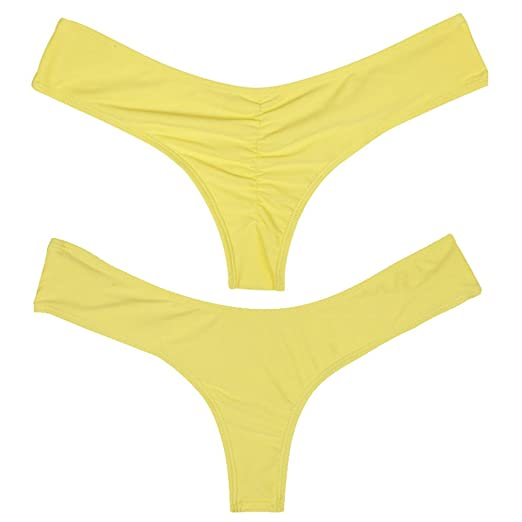 e3d53d9c40 Amazon.com: Kiwi-Rata 2017 New Womens Swimwear Sexy Sweet Heart Brazilian  Bikini Bottom Hipster Swimsuit Beachwear Swimwear (M, Yellow): Clothing