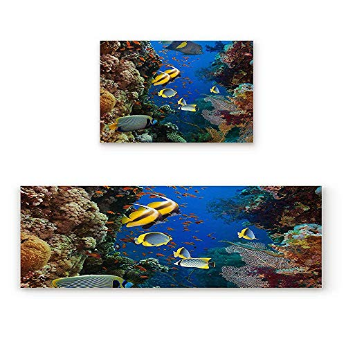 YGUII 2 Piece Non-Slip Kitchen Mat Rubber Backing Doormat Coral Reef Tropical Fish Runner Rug Set, Hallway Living Room Balcony Bathroom Carpet Sets 16X23.6in (40x60cm) and 16X47in (40x120cm) (Coral Rug Tropical)