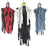 "JOYIN Set of Three Hanging Skeleton Ghost Halloween Decorations(One 35"" Hanging Ghost Skeleton and Two 25"" Hanging Reapers)"