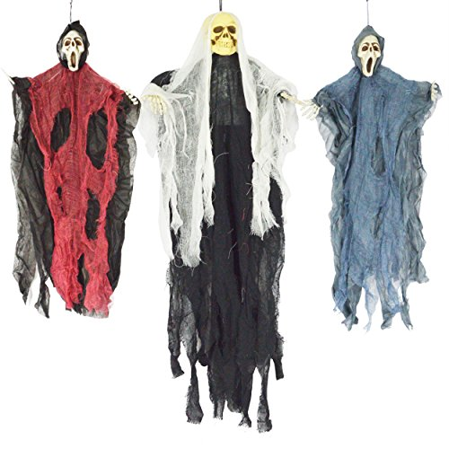 JOYIN Set of Three Hanging Skeleton Ghost Halloween DecorationsOne 35quot Hanging Ghost Skeleton and Two 25quot Hanging Reapers