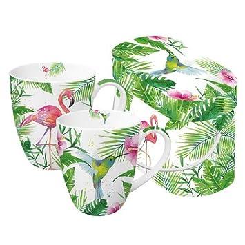 PPD 2 Porzellan Becher Tasse U0027Tropicalu0027 Flamingo Vogel Urwald In  Geschenkbox 0,35l