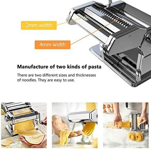Sailnovo Machine à Pâtes Manuelles en Acier Inoxydable pour Faire Tagliatelle Spaghettis Lasagnes Ravioles (Argent)