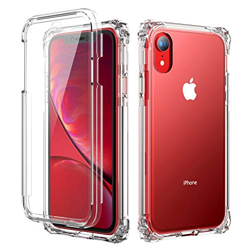 SKYLMW iPhone XR Case, [Built in Screen Protector] Full Body Shockproof Dual Layer High Impact Corner Protection Hard Plastic & Soft TPU with Sturdy Cover Case for iPhone XR 2018(6.1 -