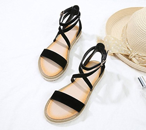 crossover romani moda Estate fibbia semplice sandali nero alla moda alla canapa xtggSZwOq