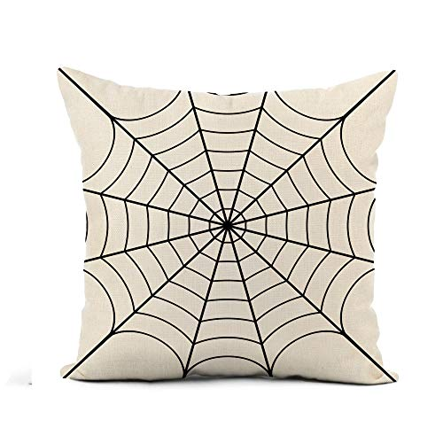 Awowee Flax Throw Pillow Cover Spider of Cobweb Spiderweb Halloween Net Haloween Pattern Network 16x16 Inches Pillowcase Home Decor Square Cotton Linen Pillow Case Cushion Cover]()