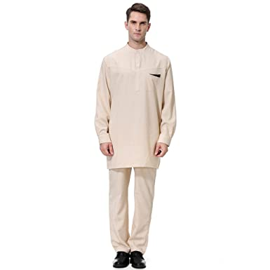 c970fdf5e546 Image Unavailable. Image not available for. Color  2 pc Top Pants for Men s  Arabian Robe Long Sleeve Top Pants Set for Islamic Muslim