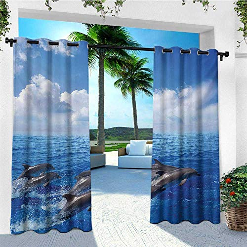 - leinuoyi Animals, Sun Zero Outdoor Curtains, Dolphins Jumping in Clear Sea and Fluffy Clouds in Sky Marine Life Photograph, for Balcony W96 x L96 Inch Blue White