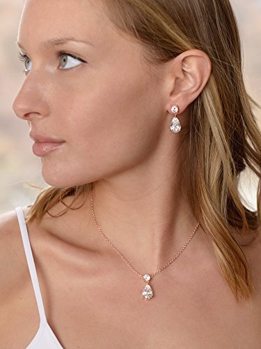Mariell 14K Rose Gold Plated CZ Teardrop Bridal Necklace and Earring Set for Weddings, Bridesmaids & Prom by Mariell (Image #1)'