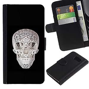 All Phone Most Case / Oferta Especial Cáscara Funda de cuero Monedero Cubierta de proteccion Caso / Wallet Case for Sony Xperia Z3 Compact // 3D Skull Print Black White Minimalist