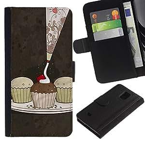 JackGot ( Carino Cupcakes modello ) Samsung Galaxy S5 Mini (Not S5), SM-G800 la tarjeta de Crédito Slots PU Funda de cuero Monedero caso cubierta de piel